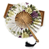 Wholesale Costume Wholesale Package - Wholesale Free Shipping Delicate Packaging Chinese Vintage Fancy Dress Costume Silk Bamboo Flower Wedding Favor Fan Decoration