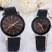 Wholesale Wholesale Diamond Watches Men - Hot Men Women's Simple Casual Style PU Leather Watchband Round Dial Spot Diamond Couples Watch Wrist lover Watch