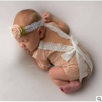 Wholesale lace hooded - Wholesale-100 days baby lace bowknot suit newborn photography props Hooded lace baby clothing pictures 3 months girl Baby Clothing