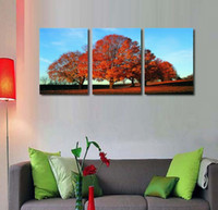 Wholesale Panel Pc Price - wholesale price red leaves autumn trees 3 pcs oil paintings on canvas living room wall decoration unframed wall decor