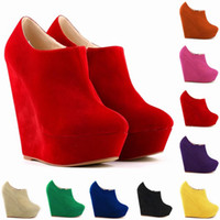 Wholesale wedges size 11 - Womens Autumn Winter Elegent Platform High Heels Suede Shoes Ankle Boots Wedges Botas Femininas US Size 4 -11 D0044