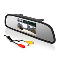 "Wholesale Monitors Dvd - 4.3"" Color TFT LCD Car Rear view Mirror Monitor FR Screen Reverse Paking Camera DVD Video Input"