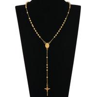 jesus rosário colar venda por atacado-Moda HIP Hop Rosário Rezar Bead Jesus Cruz Longo Colares Pingentes Bead Colar para mulheres dos homens