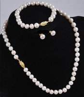 """mixed akoya pearls Canada - Wholesale 7-8MM White Akoya Cultured Pearl Necklace Bracelet Earring Set 18"""""""