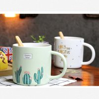 Wholesale Temperature Spoons - Creative Mugs With Bamboo Spoon Cute Hand Painting Cactus Pattern Bronzing Words Ceramic Cup Resistant High Temperature Hand Grip Coffee Cup