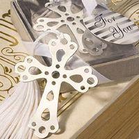 marcador cruzado do casamento venda por atacado-Atacado-Freeshipping Cross bookmark para favores do batismo do casamento da decoração do casamento e presente para a mostra do bebê da festa de casamento