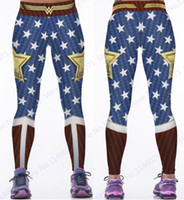 Wholesale Blue Wonder Blueing - Wonder Woman Yoga Pants Gold Star Fitness Jogging Leggings Wonder Woman Sports Tights Red Blue Compression Trousers Hot