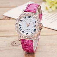 Wholesale Cheap Gold Flower Pins - Brand Luxury Rose Gold Fashion Watch Women Flowers Leather Bracelet WristWatch Women Cheap Casual Quartz Watch W072