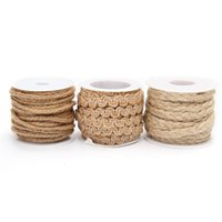 Wholesale Twine Rope Wholesale - Wholesale-2016 New Top Selling New Arrival Hot Sale 5M Natural Hessian Jute Twine Rope Burlap Ribbon DIY Craft Vintage Wedding Party Decor
