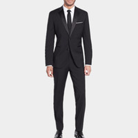 Wholesale Dark Grey Work Pants - New design Men's Charcoal Work Business Formal Suit Set Men Wedding Groom Suits tuxedos Best man Single Breasted Suits( jacket+Pants)