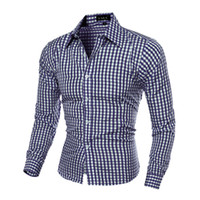 Wholesale 5colors Clothing - 5Colors Classic Plaid Man Shirts Long Sleeve Turn-down Leisure Dress Shirts Men Clothing Spring Fall Tops Business Shirt M-XXL Hot Selling