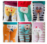Wholesale Tights Color Stripes - Baby Leggings Fox Christmas Gifts Stripe Boys Girls Elastic Cotton Animal PP Pants Kids Tiger Tights Santa Claus 16 Styles DHL Free Shipping