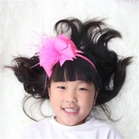Wholesale Kids Feather Headdress - satin ribbon flower children girls kids feather hair bows head band headband decorations ornaments accessories tiara headdress.10PCS\