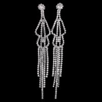 Wholesale Long Womens Earrings - New Arrival Long Earrings Womens Wedding Bridal Jewelry Dangle Earrings Silver Plated Full Crystal Tassel Earrings Wholesale E5101
