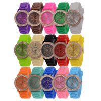 Wholesale Kids Watches Geneva - 100pcs Fashion Shadow Geneva Watch Crystal Diamond Jelly Rubber Silicone sports Watches Men's Women's Quartz Candy Watches Casual kids