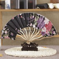 Wholesale Chinese Fabric Fans For Dances - Free Shipping 10pc lot Tassel For Gift Dancing Wedding Party Decor Fan Chinese Japanese Flower Blossoms Folding Carved Hand Fan
