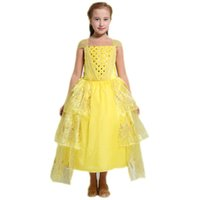 Wholesale Cosplay Bow - Girls fairy tale princess lace dress belle princess ball gown Beauty and the Beast kids cosplay performance party costume for 2-7T