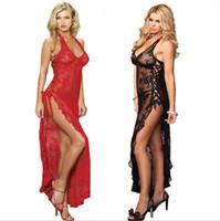 Wholesale Lace Long Underwear - Wholesale- Plus Size Sexy Lingerie Long Dress Sleepwear 3XL 4XL Sexy nightgown For Women 2017 Women Nightwear Lady Underwear Lace dress