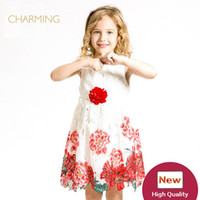 Wholesale Print Suppliers - Brand lace flower girl dresses Designer children clothing Quality printed round neck sleeveless dress Best wholesale suppliers from china