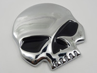 Wholesale Sticker Punk - Punk 3D Skull Car Front Sides Rear Decorations metal Badge Emblem for Univesal Car Silver 10pcs Lot Free shipping