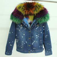 Wholesale Blue Fox Fur Collar Coat - Wholesale- brand 2017 autumn winter jacket coat women Holes Denim jacket real large raccoon fur collar and real Fox fur thick warm Liner