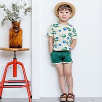 Wholesale Boys Cartoon Summer Tops - baby boy clothes Cartoon Kids Clothing Sets Summer Crocodile Printed Short Sleeve Tops + Shorts Korean Casual Summer Sets C971
