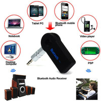 Wholesale Wireless Audio Video Receiver - Wholesale- Handsfree Bluetooth 3.0 Car Kit Wireless 3.5mm Streaming A2DP Car Auto Audio Music Receiver Video Player Function Microphone USB