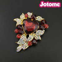 Wholesale gold red flower brooch for sale - Group buy 13pcs Gold Tone Flower Heart Leaft Brooches For Women Red Rhinestone Crystal AB Fashion Jewelry Pin Brooch