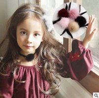 Wholesale Necklace Fur - Kids Choker necklace Girls velvet choker necklace fashion kids fur pompon chokers neck collar jewelry Christmas party accessories T0735