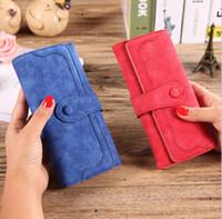 Wholesale Drawstring Purses - Women Wallets Purse Matte Drawstring Handbags Card Holder Wallet Button Long Clutch Purse Handbag Bag Matte Wallet KKA2526