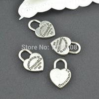 Wholesale Tibetan Gold Charm - Wholesale- 50pcs Antique metal tibetan silver charms hearts lock jewelry pendants for diy necklace bracelet jewelry findings 20*13mm Z42903