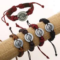 ingrosso tai bangle-I più nuovi braccialetti di cuoio della corda di modo Handmade Taoist Tai Chi Yang che salta a braccetti i monili registrabili dell'amante di personalità C004