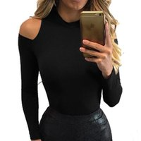 Wholesale High Neckline T Shirt - Wholesale- T -Shirt Women Sexy Tops Bodycon Long Sleeve High Neckline Slim Fit Solid T Shirts Off The Shoulder Tops For Women LJ5819C