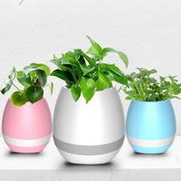 Wholesale Wholesale Blue White Vase - mini decorative plastic flower pots with bluetooth mini speaker and vases music flowerpot flower pot night light speakers