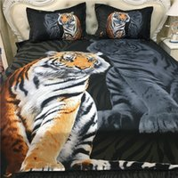 3pcs 3D Bedding Sets White Tigers Anime Series Polyester Bedding Set Twin Size King Style Domineering