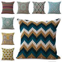 Wholesale diamond cushion covers - Geometric Pattern Diamond Stripes Flower Pillow Case Cushion Cover Linen Cotton Throw Pillowcases Sofa Car Decorative Pillowcover PW648