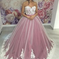 Wholesale Dusky Pink Dresses - 2017 New Dusky Pink Quinceanera Ball Gown Dresses Sweetheart White Lace Appliques Tulle Sweet 16 Puffy Plus Size Party Prom Evening Gowns