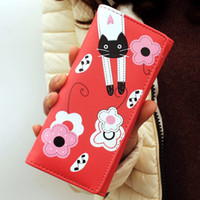Wholesale cat pattern wallet resale online - Fashion Women Wallets Long Lady Purses Floral Cat Pattern Coin Purse Pocket Cards Holder Girls Wallet PU Leather Moneybags Burse