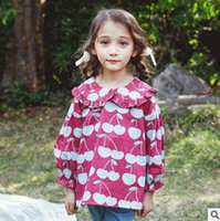 Wholesale Girls Cherry Top - Kids blouses fashion big girls cherry printed bottoming children falbala lapel princess tops 2017 kids autumn long sleeve clothing T5014