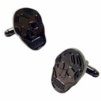 Wholesale Skull French Cuffs - black skull cufflinks for mens high quality french shirts novelty cufflink cuff links gifts 10 pairs 346