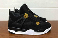 Wholesale Men Gold W - High Quality Retro 4 IV Royalty Black Suede Black Gold mens Basketball Shoes 4s Sports Shoes With Shoes box
