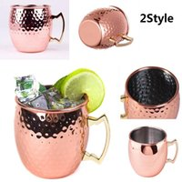 Wholesale Cut Glass Plates - Moscow Mule Cup Hammered Copper plated Stainless Steel Moscow Mule Mug Drum-Type Beer Cup Coffe Cup Water Glass Drinkware c053