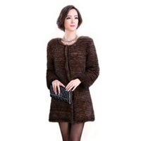 Wholesale Knitting Mink Fur Coat - Popular women knitted mink fur coat jacket authentic style stripes fashion fur coat