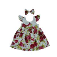 Wholesale Toddler Western Dress - Fashion Girls Clothing Flutter Sleeve Ruffle Baby Girls Dress Summer Western Sweet Girls Dress Zipper Lace Collar Toddler Outfit