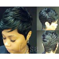 beste qualität spitze perücken großhandel-Brasilianische Menschenhaarperücken billige spitzenfront guleless volle spitzeperücken Beste Qualität sehr kurze Haarperücken für Schwarze Frauen