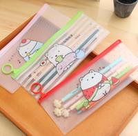 Wholesale Cute Files - Cute Molang Rabbit Cartoon Sumikko Gurashi Stripe PVC Pencil Case Stationery Storage Organizer Bag File Folder Document Bag