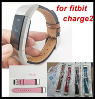 Wholesale Brown Leather Wristband Buckle - Real leather bands For fitbit charge2 Genuine leather wristband Classic Buckle strap Retro Colors for Fitbit charge 2