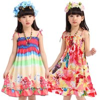 Wholesale One Piece Child Dress - 2015 Bohemia beach dresses child sleeveless one-piece beach dress baby fashion casual short skirts DHL free MOQ:60pcs SVS0030#