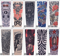 Wholesale Tattoo Arms For Men - 3D Print Tattoo 10pcs Temporary Fake Slip On 3D Tattoo Sleeve Arm Sleeves Kit Elastic Arm Stockings Tatoo for Cool Men Women