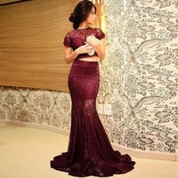 Wholesale Vestidos Largos Fashion - Two Pieces Evening Gowns Burgundy Lace Short Sleeve Sheer Mermaid Prom Dresses Womens Vestidos Largos De Fiesta Mujer